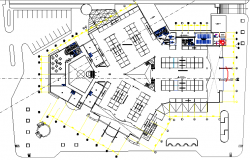 First floor layout plan details of shopping mall dwg file