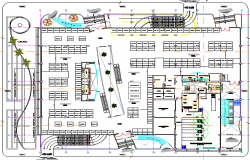 First floor layout plan details of super market dwg file