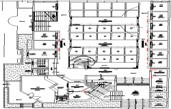 First floor layout plan details of urban area industrial plant dwg file