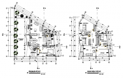 First floor plan and second floor working plan detail dwg file