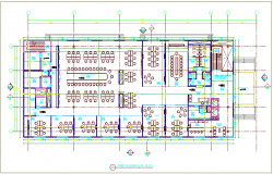 First floor plan design view of government building dwg file