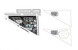 First floor plan details of commercial shopping center building dwg file