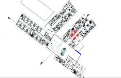First floor plan details of multi-level hospital building dwg file