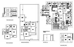 First floor plan of Residential villa with front and back elevation in dwg file