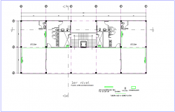 First floor plan of air conditioning system for office premises dwg file