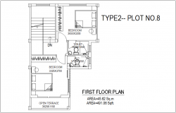 First floor plan of bungalows type 2 plot no.8 with architecture view dwg file