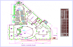 First floor plan of club house dwg file