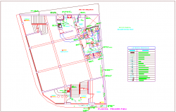 First floor plan of drainage line with its legend for commercial building dwg file