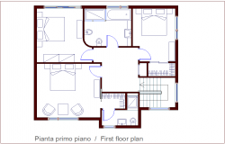 First floor plan of housing dwg file