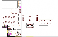 First floor plan of multi-flooring hotel design dwg file