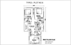 First floor plan type 3 plot no.6 architecture view of bungalows dwg file