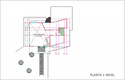 First floor plan with architectural view of office dwg file