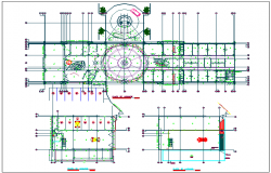 First floor plan with detail view of taller of office building dwg file