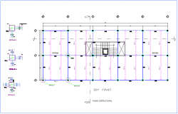 First floor plan with structural view of office dwg file
