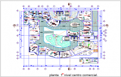 First floor shopping center plan with architectural view dwg file