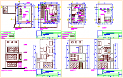 First floor to third floor view with elevation and section view of home design dwg file