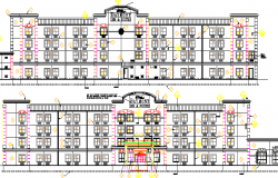 Five Star Hotel Project Front and Back Elevations dwg file
