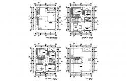 Five flooring apartment building floor plan details dwg file