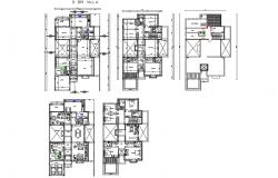Five flooring villa floor plan layout cad drawing details dwg file
