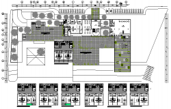 Five star hotel landscaping, structure and floor plan details dwg file