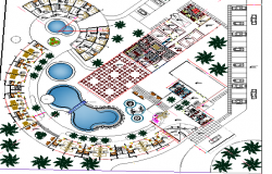 Five star hotel landscaping and structure details dwg file