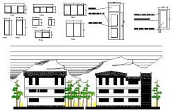 Five story school building architecture project dwg file