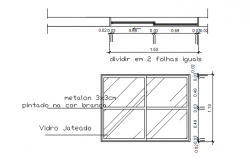 Fix glass plan and elevation detail dwg file
