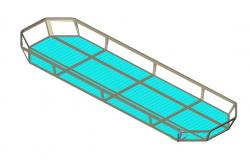 Fixed stretcher 3d elevation cad block details dwg file