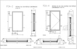 Fixed window view with sectional view with window frame view dwg file