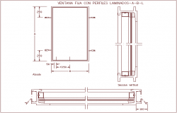 Fixed window with laminated profile view with sectional view dwg file