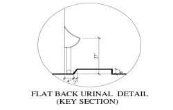 Flat back urinal sectional detail view with sanitary view dwg file