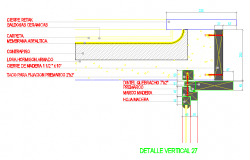 Flat roof detail section plan dwg file