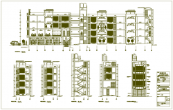 Flats building dwg file