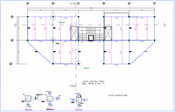 Floor 2 to 7 structural plan for office premises dwg file