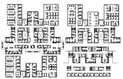 Floor Plan of Four Flooring Multi-Specialty Hospital dwg file