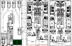 Floor Plan of Multi-Family Residential Building dwg file