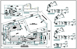 Floor area diagram with site plan of school dwg file