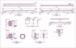 Floor area of bridge plan and section view steel structure view dwg file