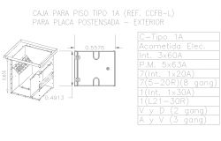 Floor box electrical detail cad drawing