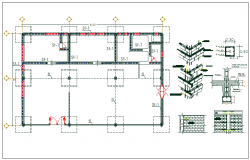 Floor column foundation plan layout detail view dwg file