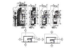 Floor distribution plan details of multi-family town house dwg file