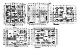Floor distribution plan details of multi-story apartment building dwg file