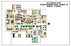Floor distribution plant of Hospital design drawing
