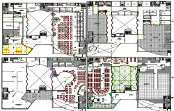 Floor layout plan details of multi-level shopping mall dwg file