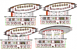 Floor layout plan of multi-flooring administration building dwg file