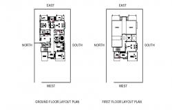 Floor layout plan of the residential house with furniture detail in dwg file