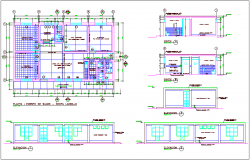 Floor plan,elevation and section view for post of health center dwg file