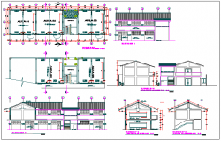Floor plan,elevation and section view of collage dwg file