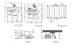 Floor plan,elevation and section view of housing with architecture view dwg file