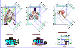 Floor plan,roof plan,elevation & section view for house design dwg file